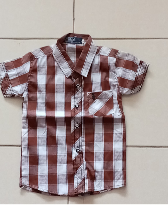 1yr old Boys Checked Brown and White Shirt