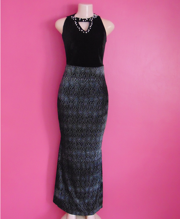 Evening or Occasion black dress with glitters size 10 - 12