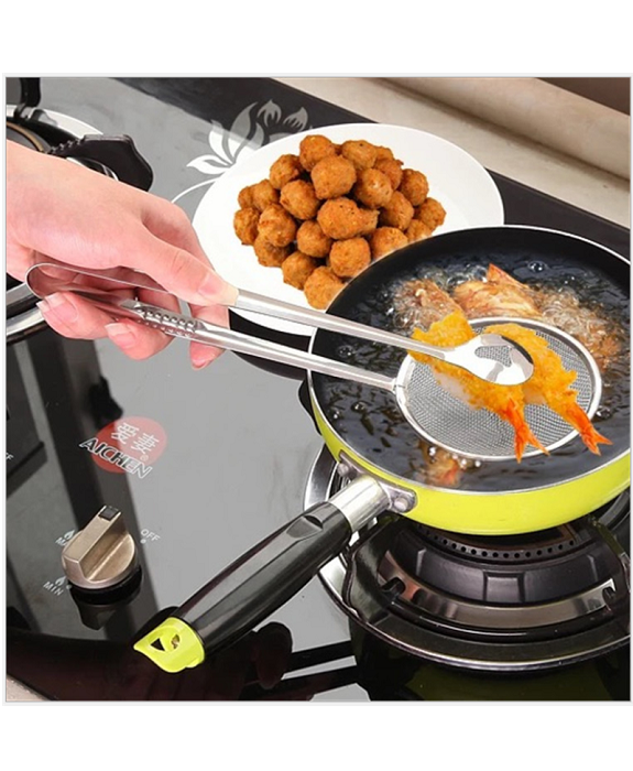 Kitchen Accessories Stainless Steel Fried Food Fishing Oil Scoop and Raise The Lid Overflow Device S