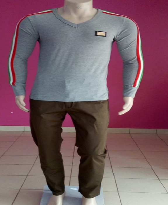Grey polo T-shirt XL
